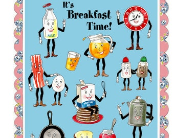 Vintage Kitchen Print - Retro Kitchen Art - Anthropomorphic Food Print - Breakfast - Housewarming Gift - Cooking - Chef - Breakfast in Bed