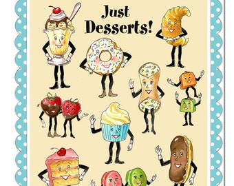 Retro Kitchen Print, Vintage Kitchen Art, Dessert Print. Anthropomorphic  Art, Fun Food, Hostess Gift, Housewarming, Pastry Chef, Baking