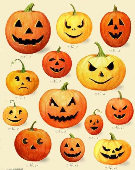 pumpkin print jack o lantern print halloween decor retro etsy
