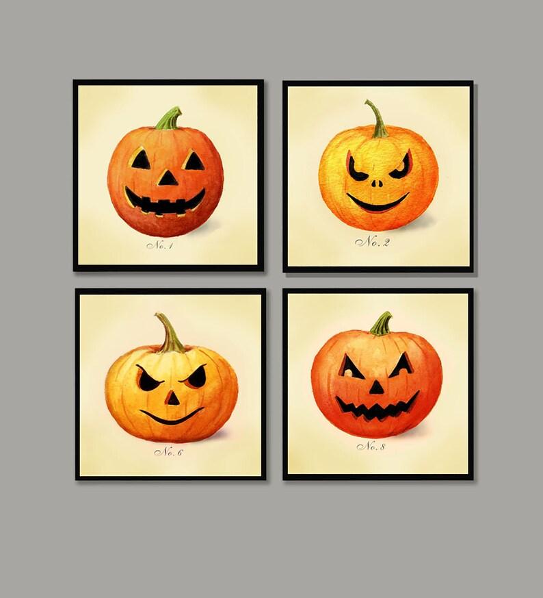 Pumpkin Coasters Jack-O-Lantern  Halloween Coaster Set image 0