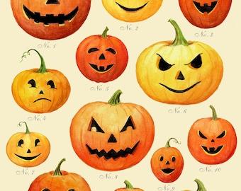 Jack O Lantern Print - Halloween Print - Pumpkin Print