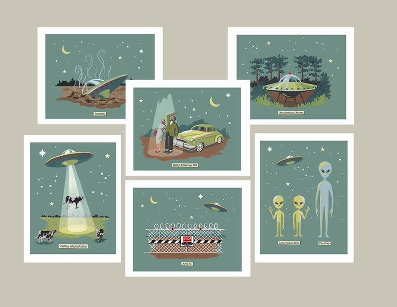 UFO cards Flying Saucer Notecards Classic Sci-Fi Retro image 0
