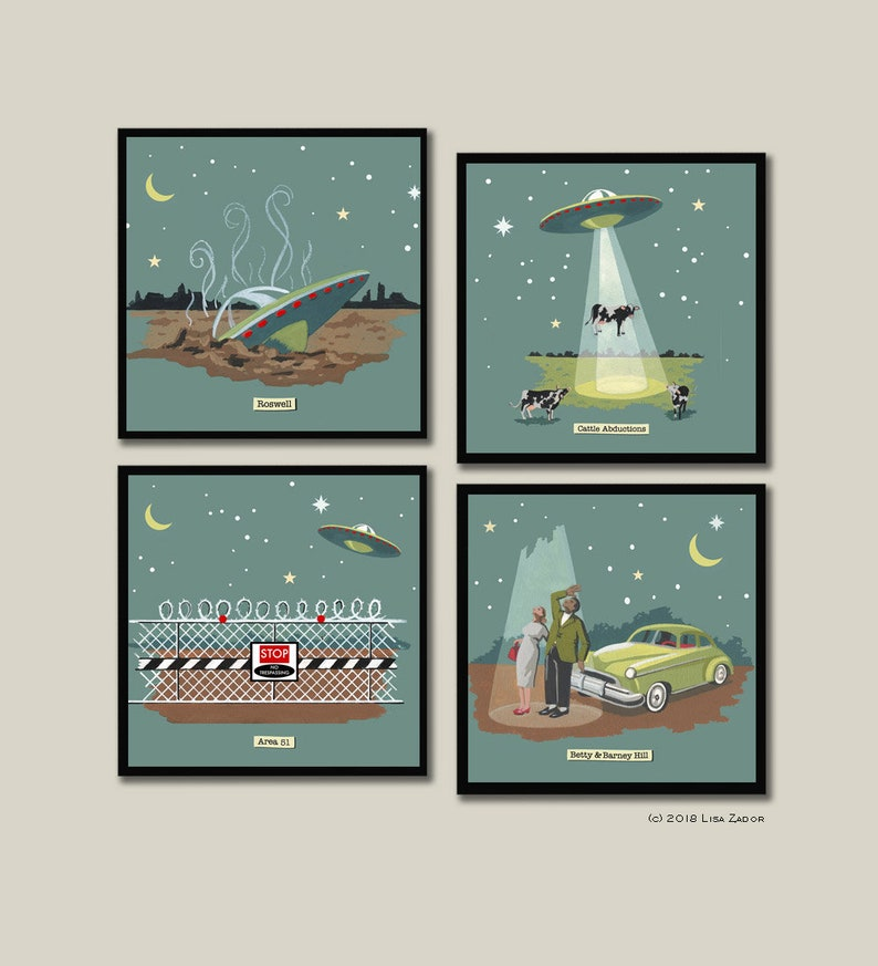 Retro UFO Coasters Flying Saucer Coaster Set Aliens image 0