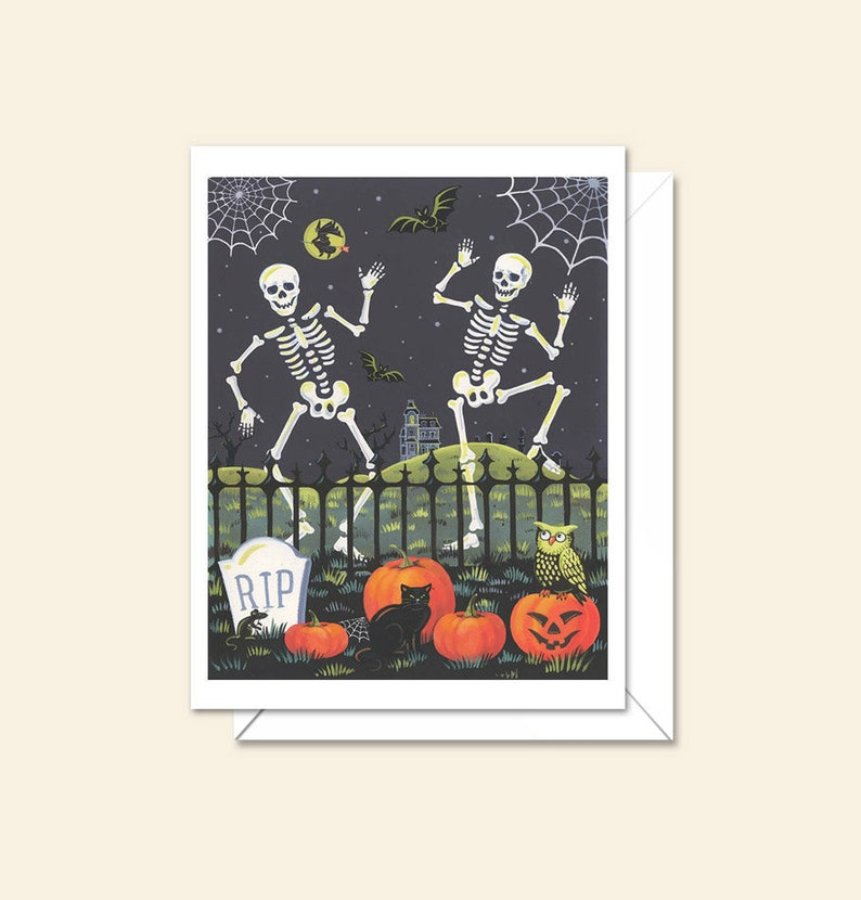Retro Skeleton Cards  Spooky Card  Funny Halloween  image 0