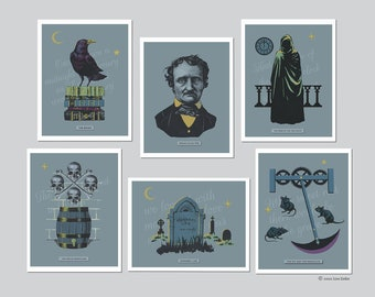 Poe Cards, Edgar Allan Poe Card Set, The Raven, Notecards, Victorian, Gothic, Literary, Book Lovers Gift, Victorian Mystery, Bibliophile