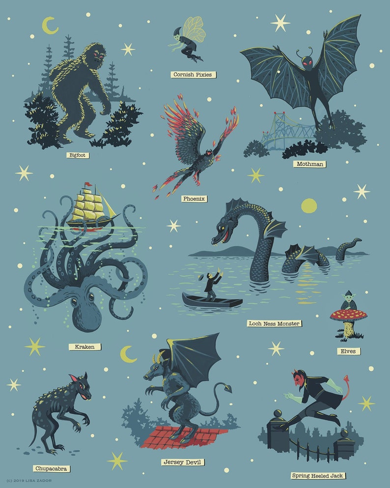 Cryptozoology Print Cryptids Poster Big Foot Loch Ness image 0