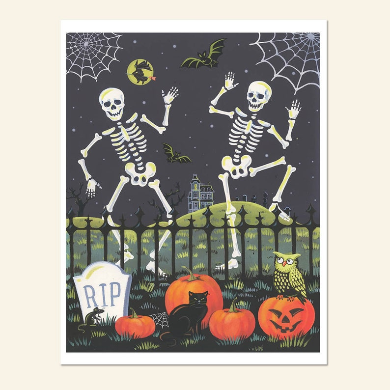 Skeleton Print Halloween Print  Retro Halloween Decor image 0