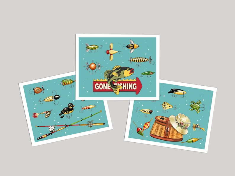 Fishing Card Gone Fishing Card Set of 6 Blank Gift for image 0