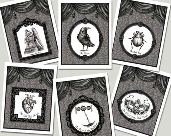 Edgar Allan Poe Cards, The Raven, Notecards, Victorian, Gothic, Literary, Book Lovers Gift, Victorian Mystery, Bibliophile