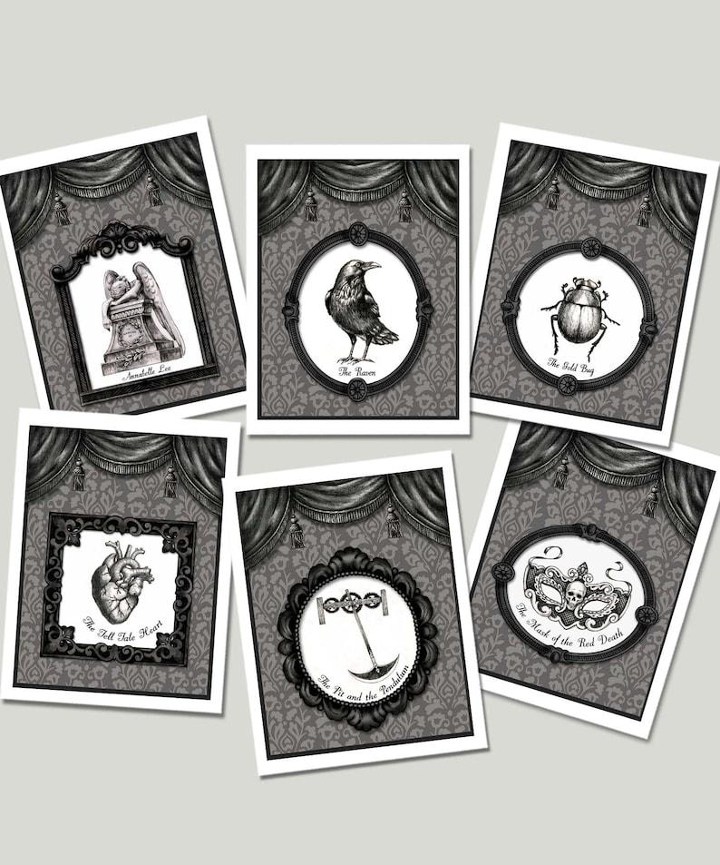 Edgar Allan Poe Cards The Raven Notecards Victorian image 0