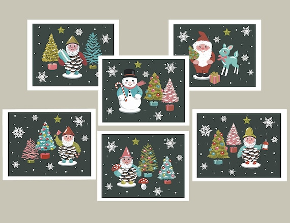 Christmas Notecards.Retro Christmas Cards Vintage Inspired Notecards Pine Cone Elf Bottle Brush Tree Retro Santa Snowman Christmas Notecards Humorous