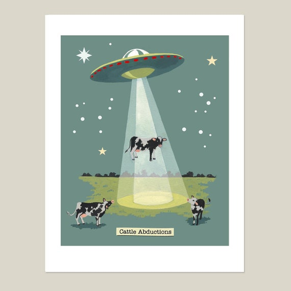 Flying Saucer UFO Poster Print Sci-fi Gift Alien Spacecraft Martians
