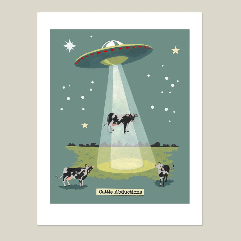 Flying Saucer Print UFO Print Retro Space Roswell Aliens image 0