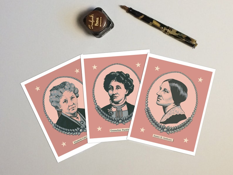 Suffragette Cards Women's History notecards Susan B. image 0