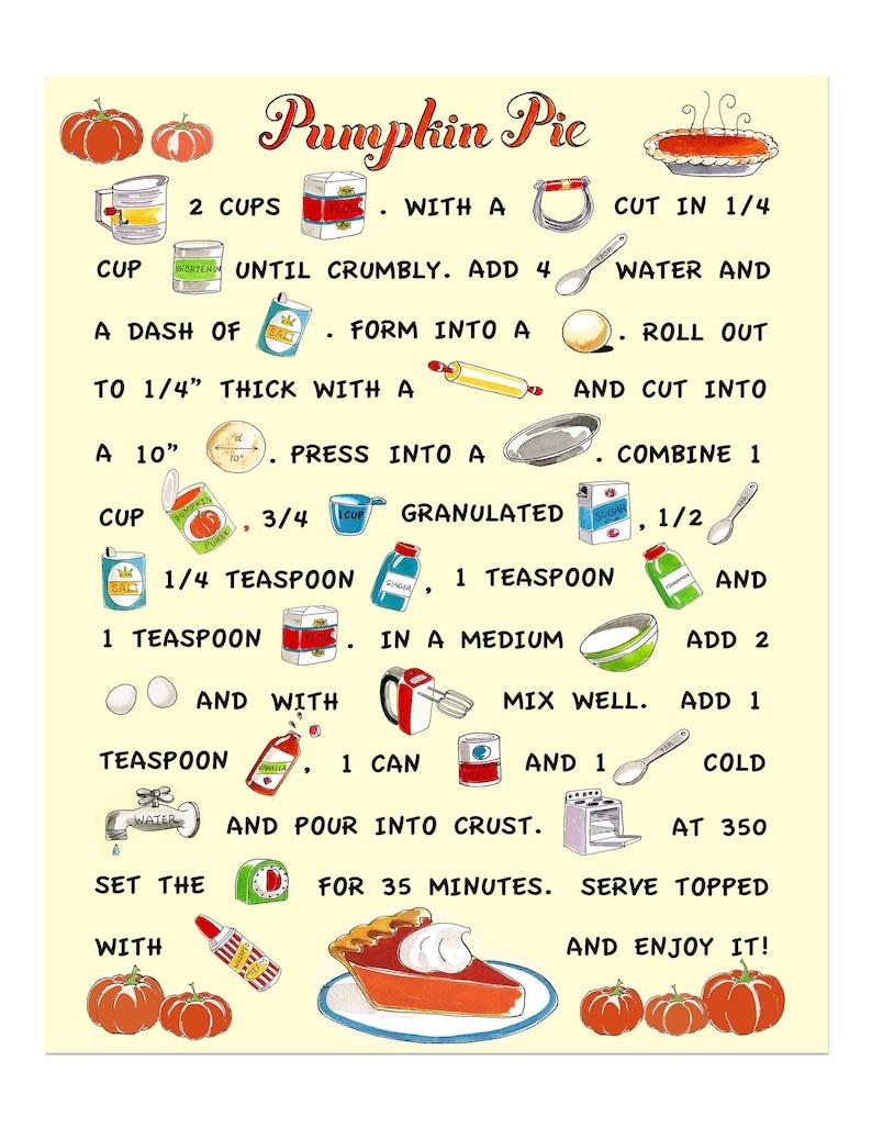 Pumpkin Pie Print Pumpkin Pie Recipe Retro Kitchen image 0