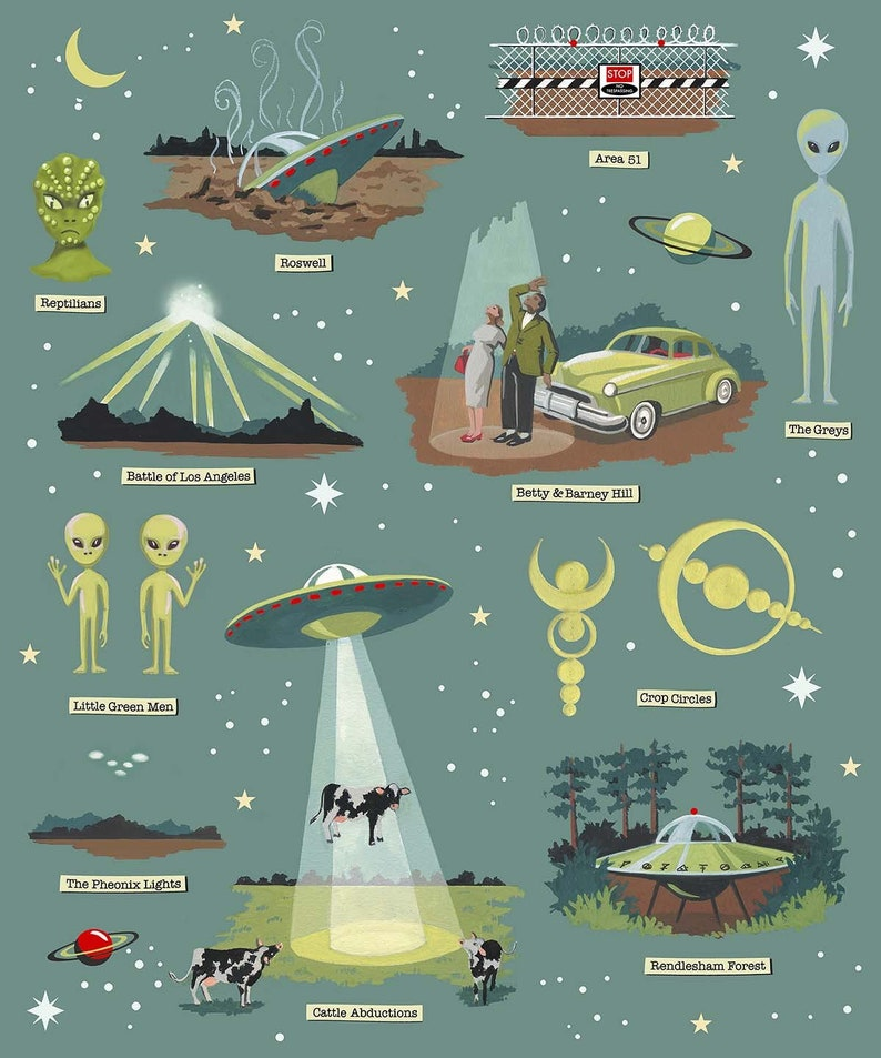 UFO Print Flying Saucer Poster Retro Space Roswell Area image 0