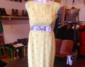 SALE Yellow Daisy Dress 1960s Party Dress 60s Clothing Soft Grunge Hippie Clothes Prom Dress Lace Maxi Dress XS-Small