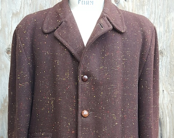 """1950's Vintage Overcoat // Plus Sized //  Brown Fleck // """"Airman"""" // Leather Buttons // Bold Collar"""