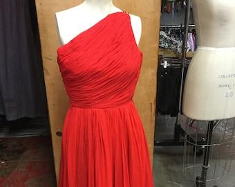 EMMA DOML Incredible One Shoulder Beautiful Red Chiffon Dress
