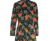 SALE Floral Maxi Dress 90s Grunge Long Sleeve Dress Boho Clothes Red Roses Bohemian Clothing Black Red MEDIUM LARGE