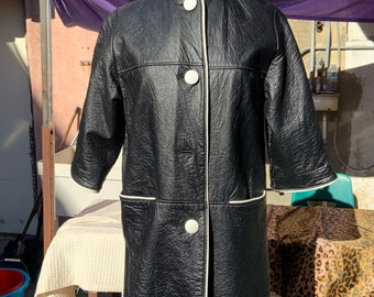 1960s MOD Black Pleather Jacket with White Piping