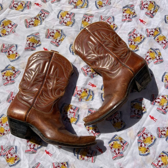 1950s Brown Leather Cowboy Boots