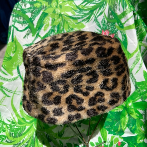 1950s Faux Cheetah Fur Pill Box Hat