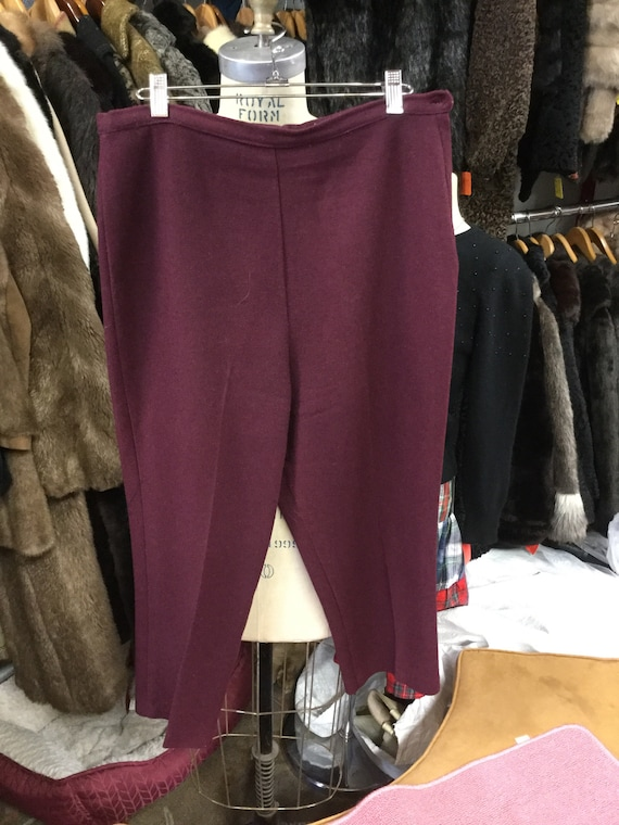Burgundy Wool Cigarette Pants