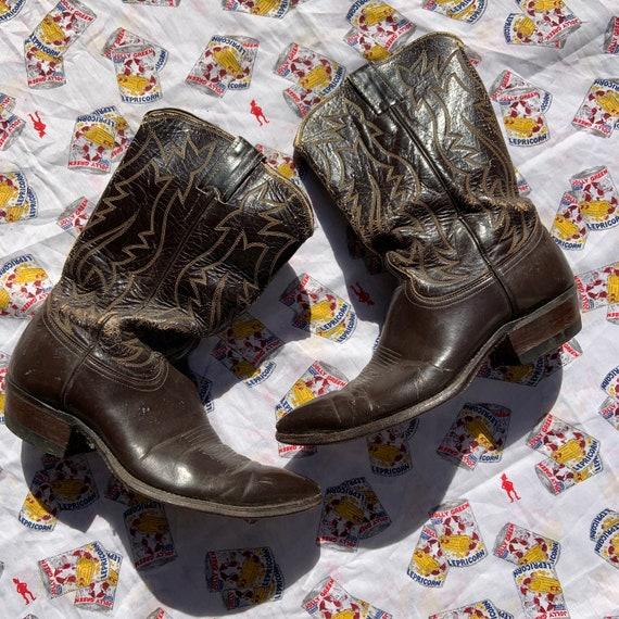 1950s Dark Brown Leather Cowboy Boots