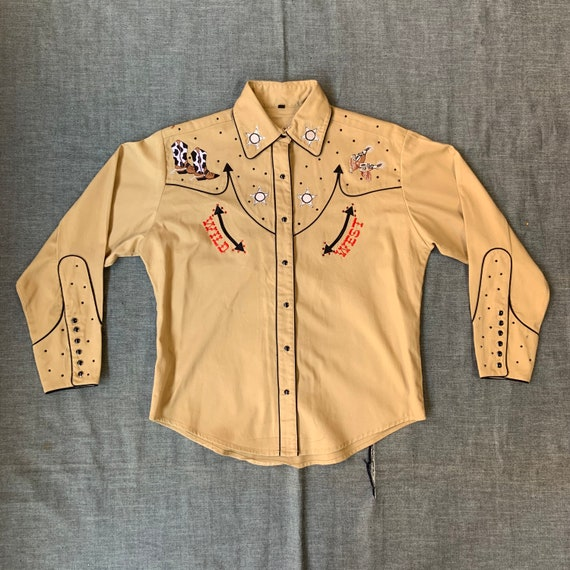1990s Tan Bejeweled Western Shirt