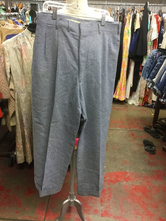 Wool Trouser Cuffed Pleated 1950's Pants