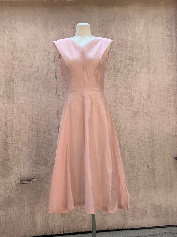 1950s Pink Raw Silk Dress - image 1