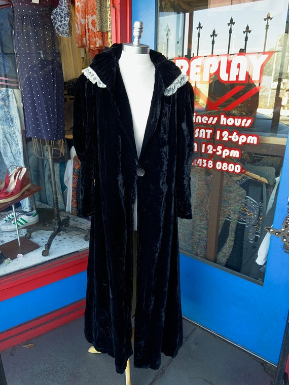 1940s Black Silk Velvet Evening Jacket Lace Trim C