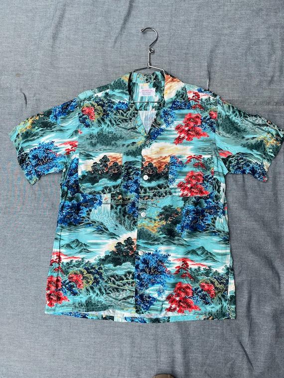 1950s Mens JC Penneys Hawaiian Shirt Rayon