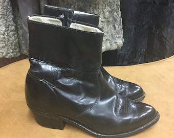 Size 9 Black Shiny Ankle Boots