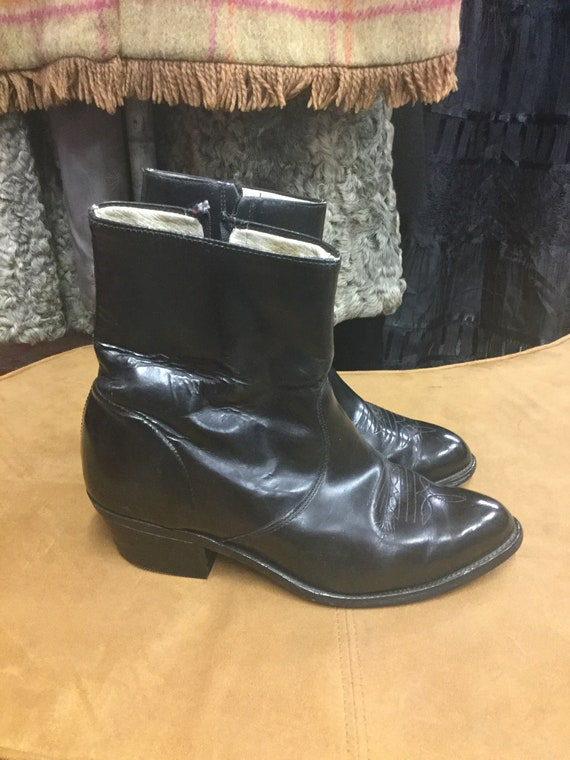 Size 9 Black Shiny Ankle Boots
