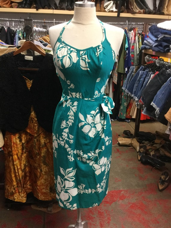 Halter 1960's Hawaiian Sarong Dress