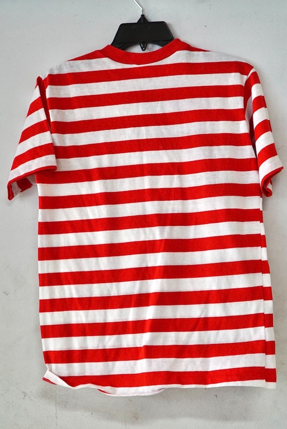 1960's Campus Red & White Striped T-Shirt Size Med