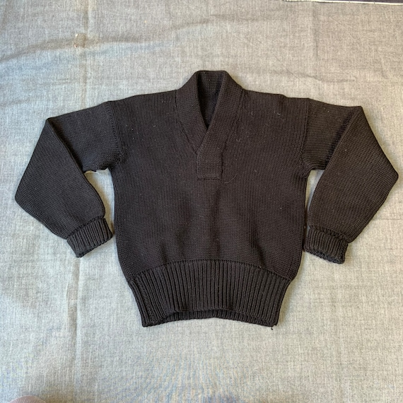 1950s Black Cable Knit Sweater