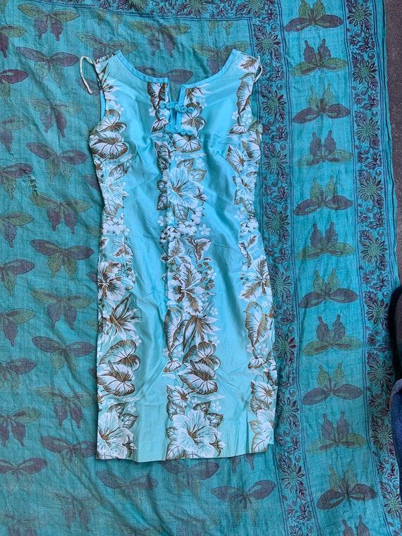 1950s Aqua Hawaiian Tiki Sheath Dress
