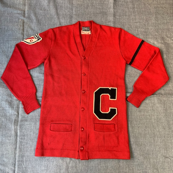 1950s Red Letterman Button Up Sweater