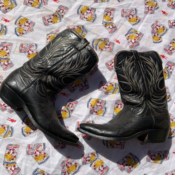 1950s Black Leather Cowboy Boots