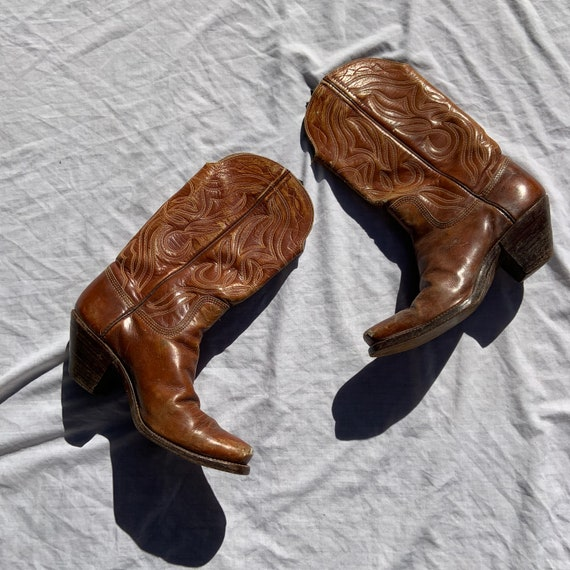 1950s Tan Leather Cowboy Boots