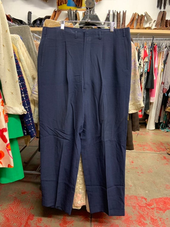 1950s Navy Linen Pleated Trousers