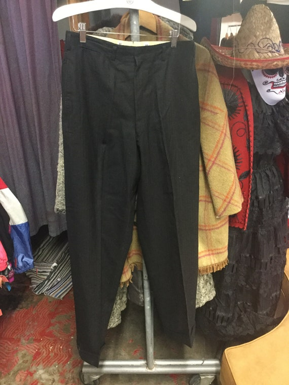 Men's 1950's Black Trouser Pants
