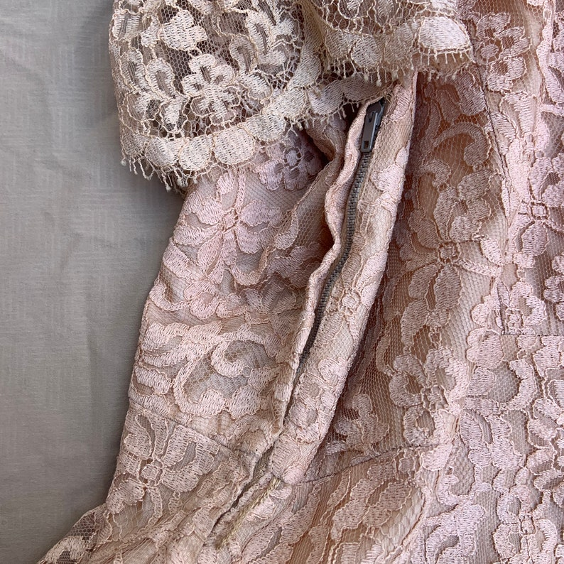 1950s Peach Lace Dress with a Scallop Layered Skirt