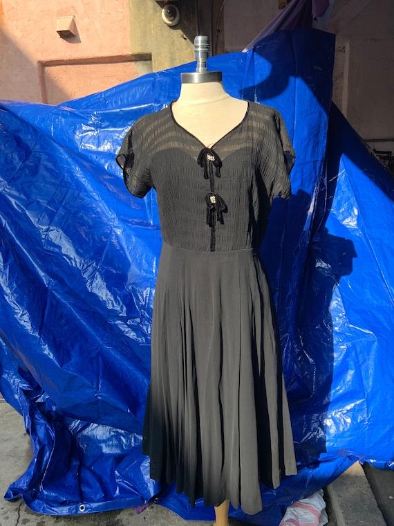 1950s Black Chiffon Dress - image 1