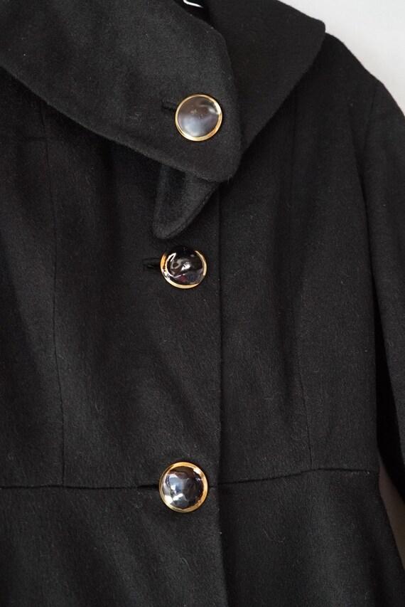 1950's Black Princess Seam Wool Coat - image 2