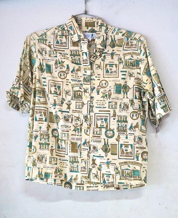1960's Carrol Brent Novelty Print Cotton Blouse