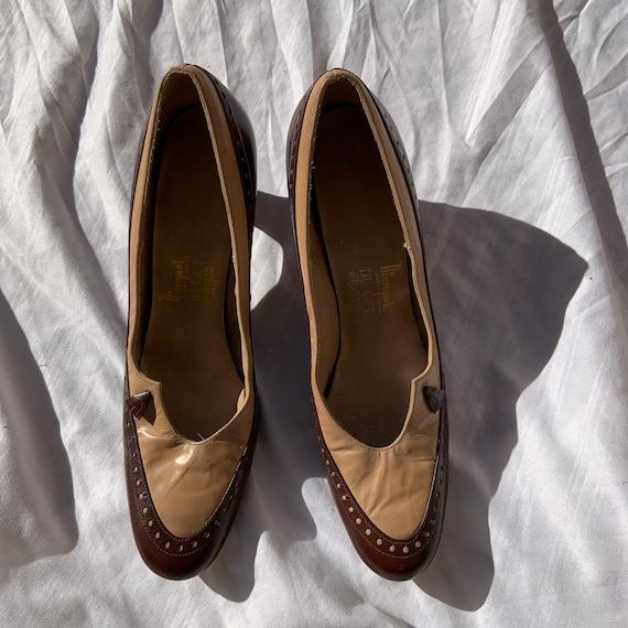 1940s Brown and Tan Heels
